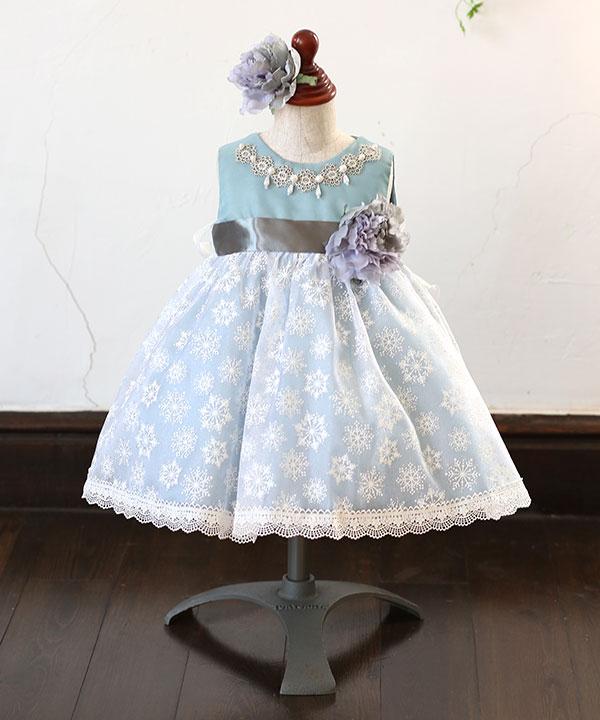アニバーサリー(1歳)|【リューサ・ローズ ベビー】ベビー ミニドレス ブルー 80cm|A0007