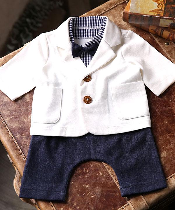 アニバーサリー(1歳)|【ラフィネココ】ベビースーツ ホワイト 80cm|A0008