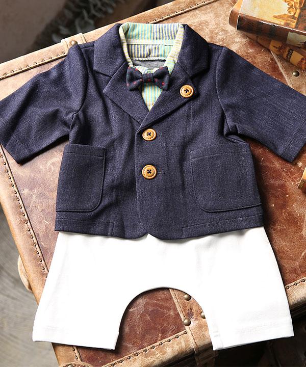 アニバーサリー(1歳)|【ラフィネココ】ベビースーツ デニム風ネイビー 80cm|A0009