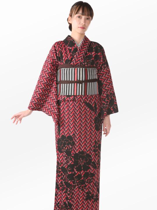 ブランド着物レンタル|「JOTARO SAITO Composition」ヘリンボーン洋花シルエット(赤)/ヘコオビ