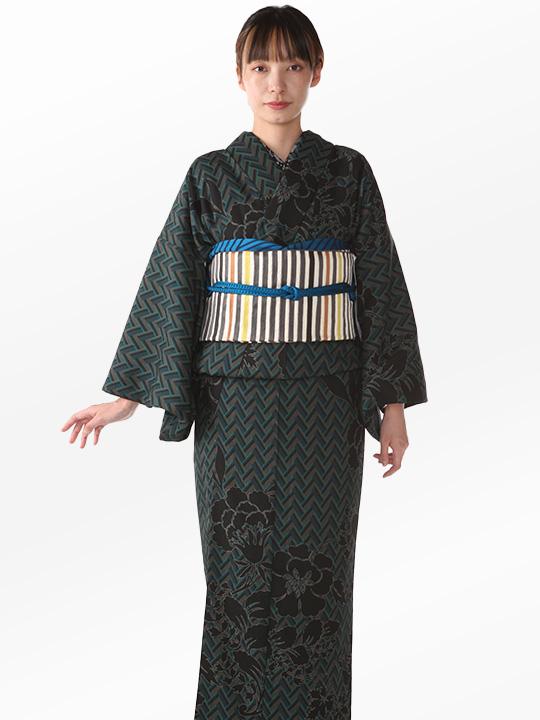 ブランド着物レンタル|「JOTARO SAITO Composition」ヘリンボーン洋花シルエット(グリーン)/ヘコオビ