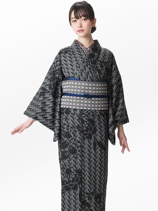 ブランド着物レンタル|「JOTARO SAITO Composition」ヘリンボーン洋花シルエット(グレー)/ヘコオビ