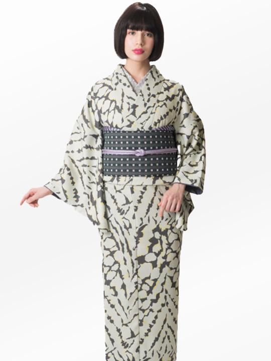 ブランド着物レンタル|「JOTARO SAITO Composition」くずしタイダイ(ベージュ)/ヘコオビ