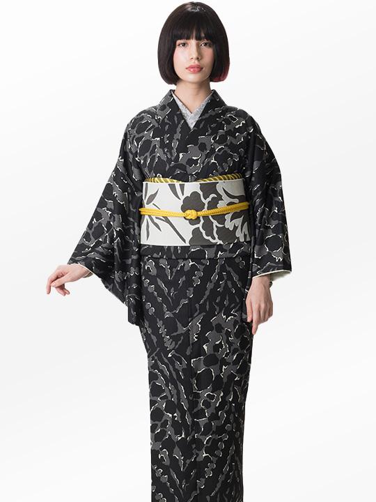 ブランド着物レンタル|「JOTARO SAITO Composition」くずしタイダイ(黒)/ヘコオビ