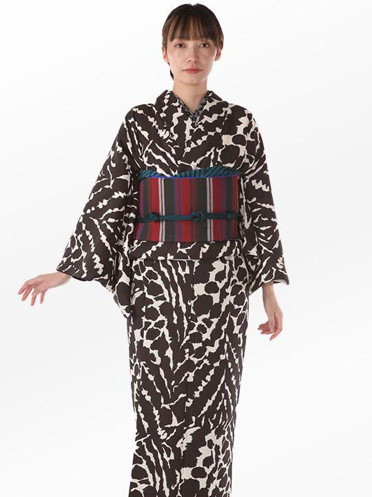 ブランド着物レンタル|「JOTARO SAITO Composition」くずしタイダイ(茶)/ヘコオビ
