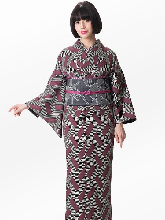 ブランド着物レンタル|「JOTARO SAITO Composition」スクエア合せストライプ(赤)/ヘコオビ