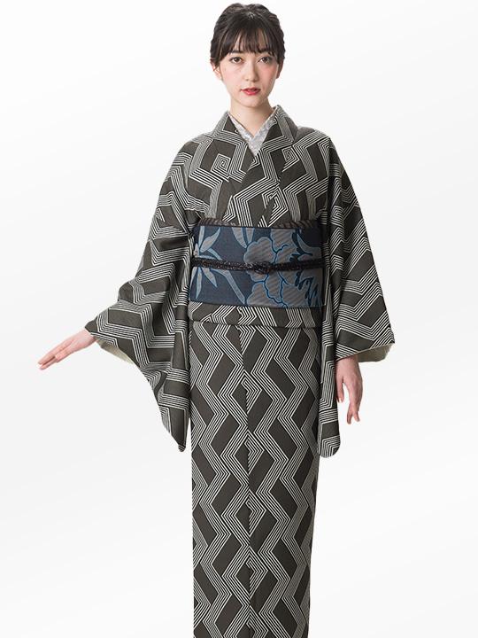 ブランド着物レンタル|「JOTARO SAITO Composition」スクエア合せストライプ(グリーン)/ヘコオビ