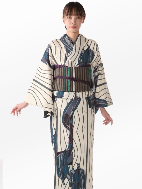 ブランド着物レンタル|「JOTARO SAITO Composition」幾何学(ベージュ)/ヘコオビ