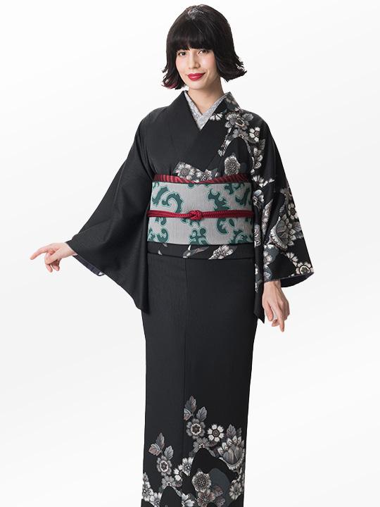 ブランド着物レンタル|「JOTARO SAITO Composition」大バラ花のぞき(黒)/ヘコオビ