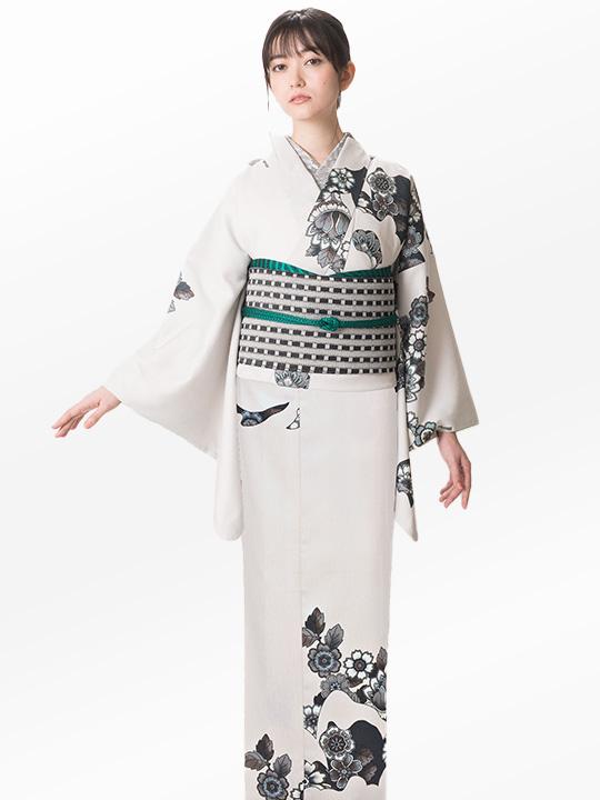 ブランド着物レンタル 「JOTARO SAITO Composition」大バラ花のぞき(クリーム)/ヘコオビ