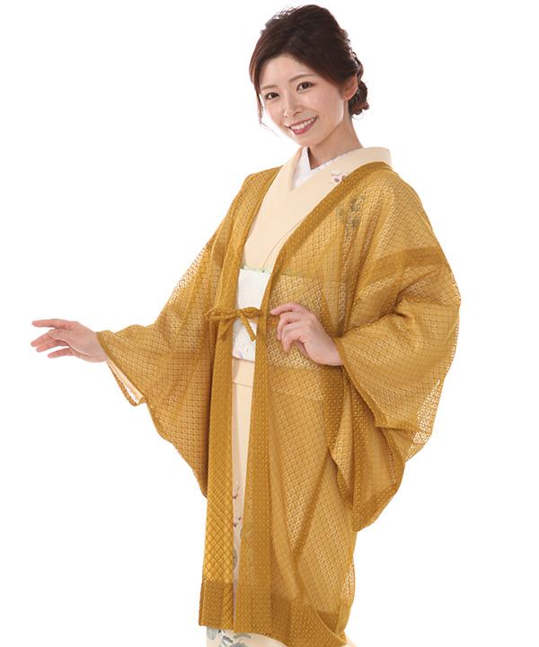 コート|レース羽織 kimono cafe ダイヤ カラシ 羽織紐有り