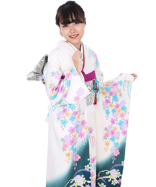 振袖|白の下り藤と桜熨斗|F0014 L