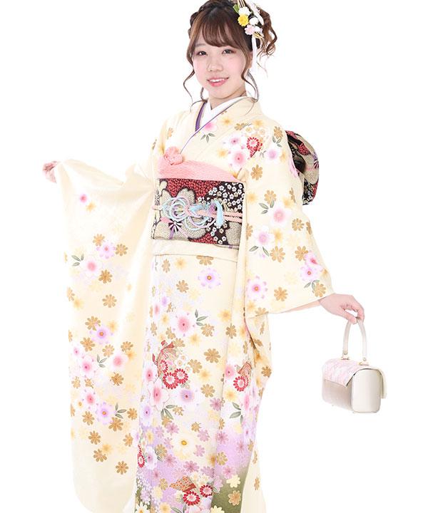 振袖|クリームと抹茶桜|F0015 M