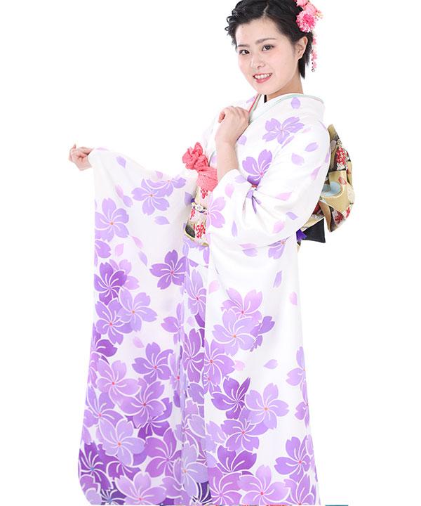 振袖|白に紫の捻じ桜|F0024 M