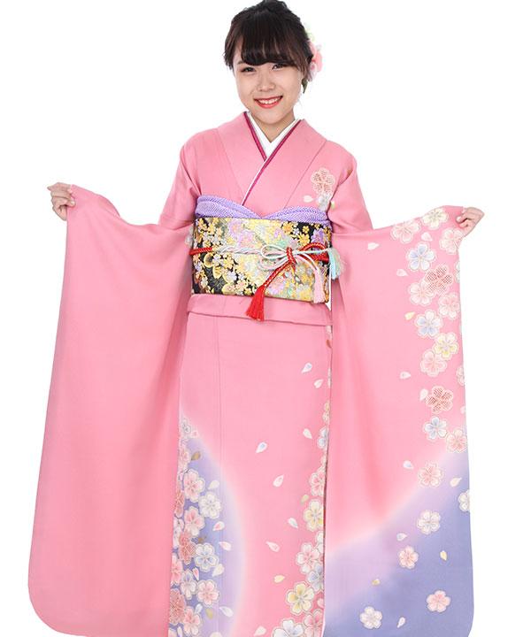 振袖|ピンクにぼかし桜|F0025 M