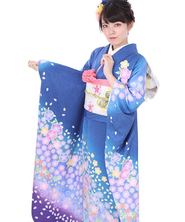 振袖|青と紫の桜吹雪|F0027 M