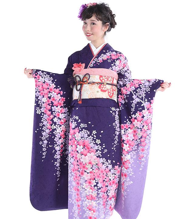 振袖|紫グラデしだれ桜|F0033 L