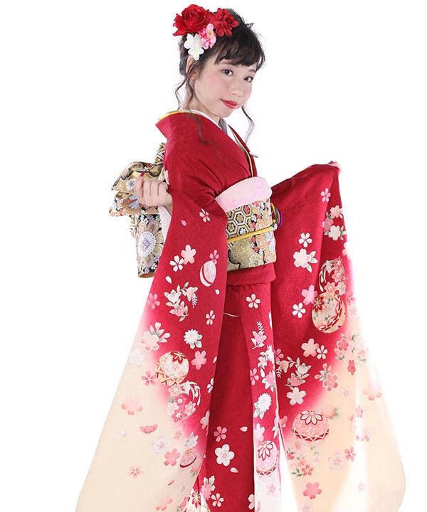 振袖レンタル|赤にクリームぼかし鞠桜