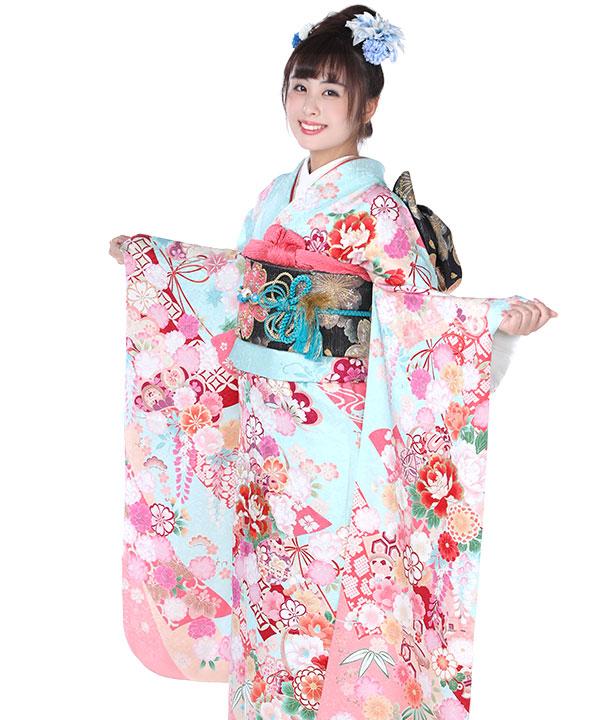 振袖|水色ピンク熨斗目鞠|F0041 M