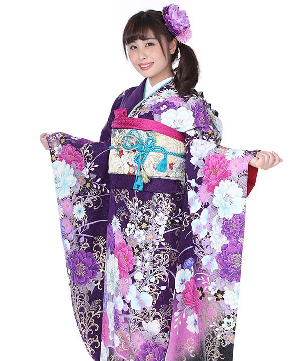 振袖 紫に洋風花 F0046 S