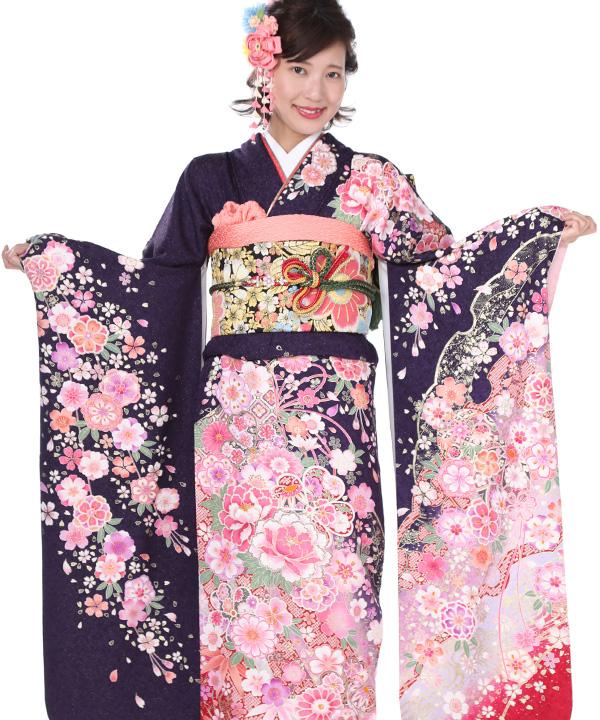 振袖|紫に熨斗牡丹菊|F0053 M