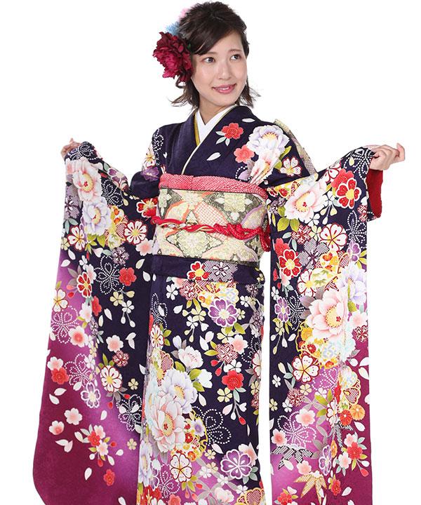 振袖|紺桔梗に桜牡丹|F0055 L