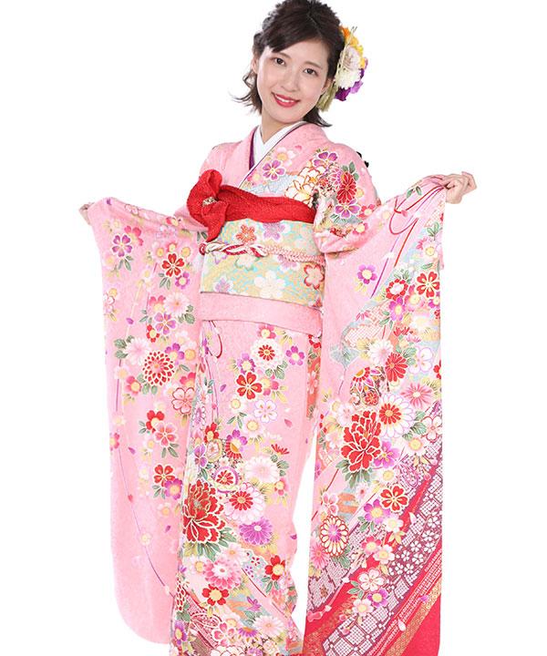 振袖|ピンクに熨斗目牡丹|F0057 M