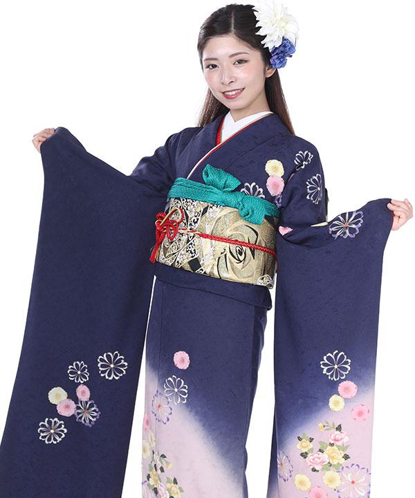 振袖レンタル|紺にぼかし桜