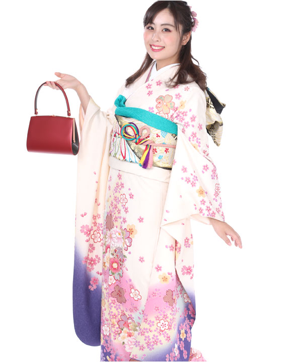 振袖|白に紫ぼかし桜吹雪|F0083 L