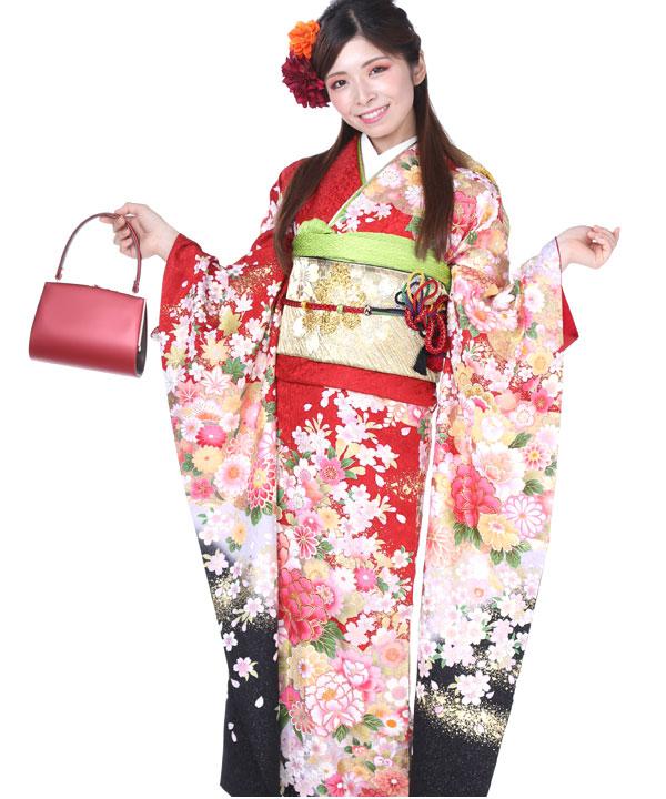 振袖|赤黒に桜牡丹|F0102 LL