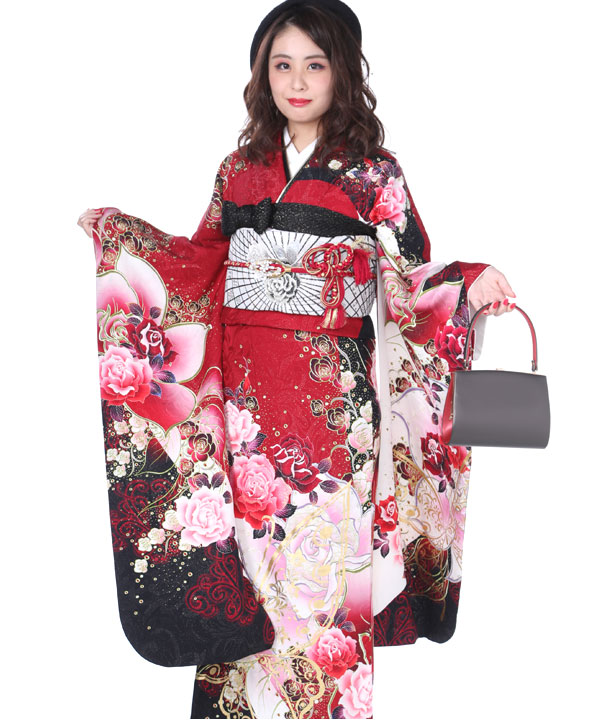 振袖 赤に蝶薔薇モダン F0103 M