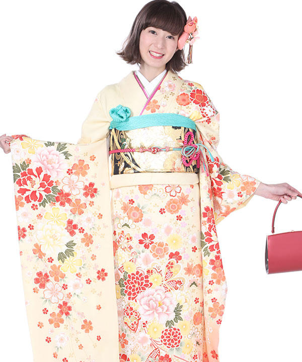 振袖 薄黄に桜 F0110 M