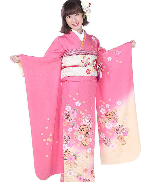 振袖|ピンクに雪輪七宝桜|F0112 M