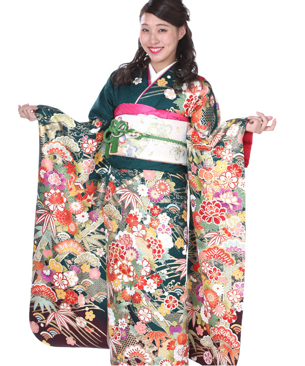 振袖 深緑に紗綾型松竹梅 F0121 L