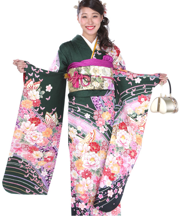 振袖|渋緑に蝶扇牡丹|F0126 L