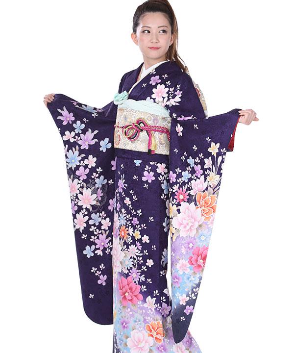 振袖 青紫に牡丹菊 F0133 M