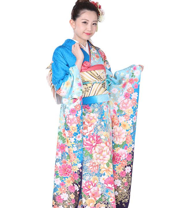 振袖|水色グラデ桜牡丹|F0138 LL