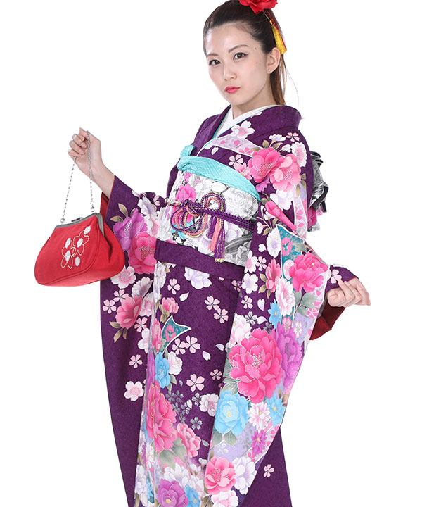振袖|紫に熨斗牡丹|F0139 LL