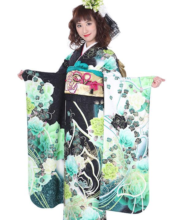 振袖 黒に緑薔薇蝶 F0140 L
