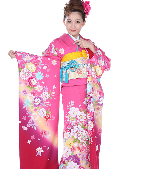 振袖|鮮やかピンクに牡丹蝶|F0142 LL
