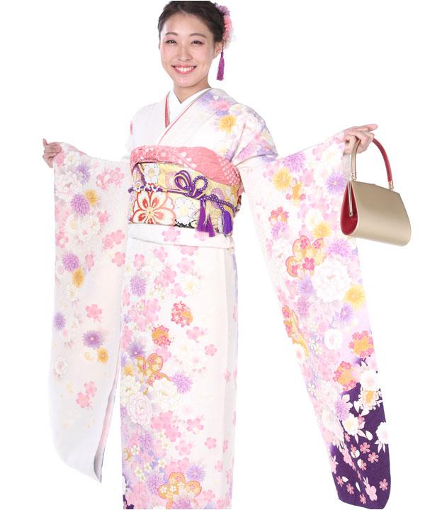振袖|白地にグラデ桜|F0150 L