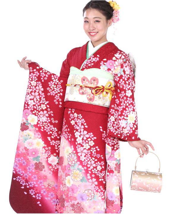 振袖|赤に小柄桜菊|F0152 L