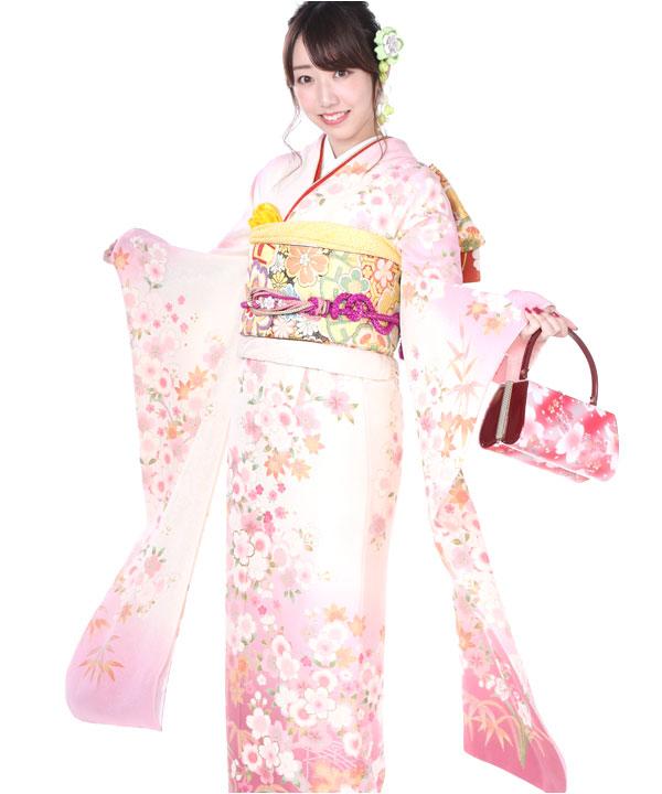 振袖|白ピンクぼかしに桜|F0153 M