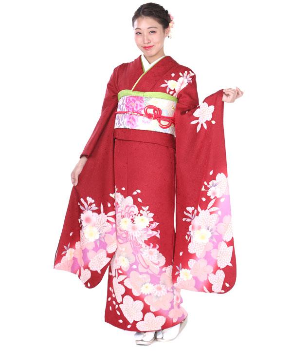 振袖|赤に桜菊|F0155 LL