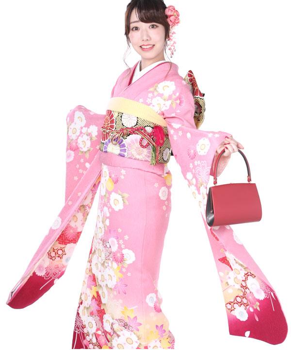 振袖|ピンクに熨斗桜鞠|F0157 M