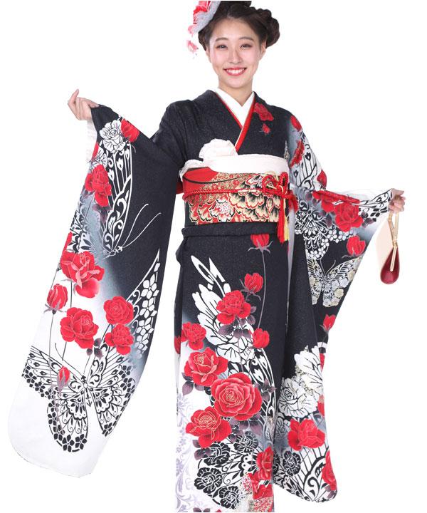 振袖 黒に赤薔薇蝶 F0171 L