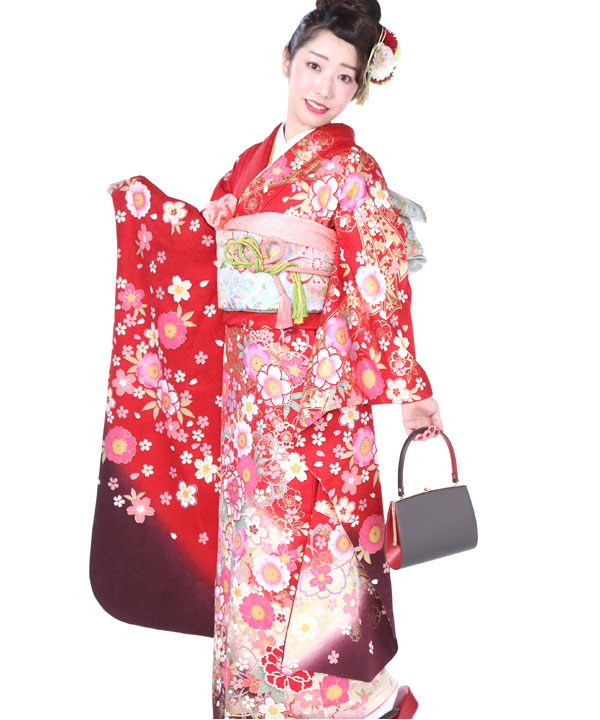 振袖 赤グラデ桜牡丹熨斗 F0174 M ヒップ92cmまで