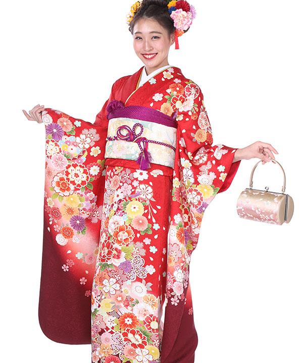 振袖|赤グラデ桜牡丹|F0180 L