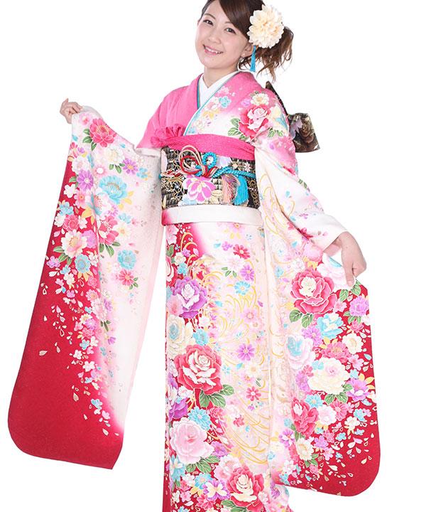 振袖 ピンクにぼかし薔薇 F0183 L