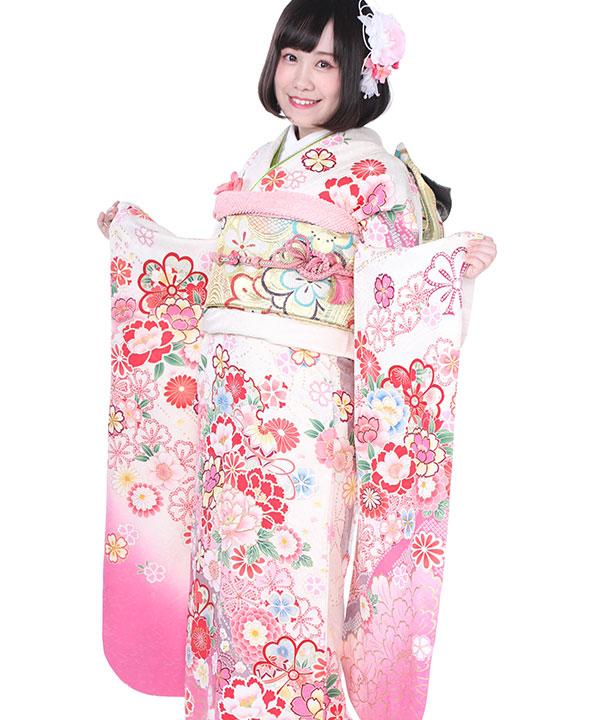 振袖|白にピンクぼかし桜鞠|F0188 S|ヒップ92cmまで